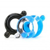 Elastomer Cock Ring 3 Pack in Black, Blue, Clear